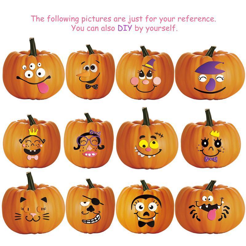 2 Sets Halloween Pumpkin Faces Decoration EVA 12 Design Face ...