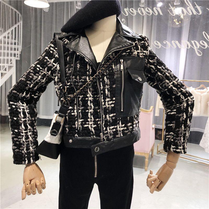 Manteau Streetwear noir Bomber Plaid Mode Patchwork Élégant Femmes Pu Automne Beige Tweed Hiver 2018 Veste Survêtement Cqwt8t