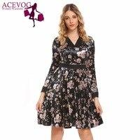 ACEVOG Autumn Floral Print Women Vintage A Line Dres V Neck Long Sleeve High Waist Swing