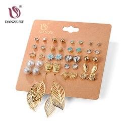 DANZE панк 20 пар в упаковке, набор Brincos, смешанные серьги-гвоздики для женщин, Кристальные серьги-гвоздики, модные ювелирные изделия из искусст...