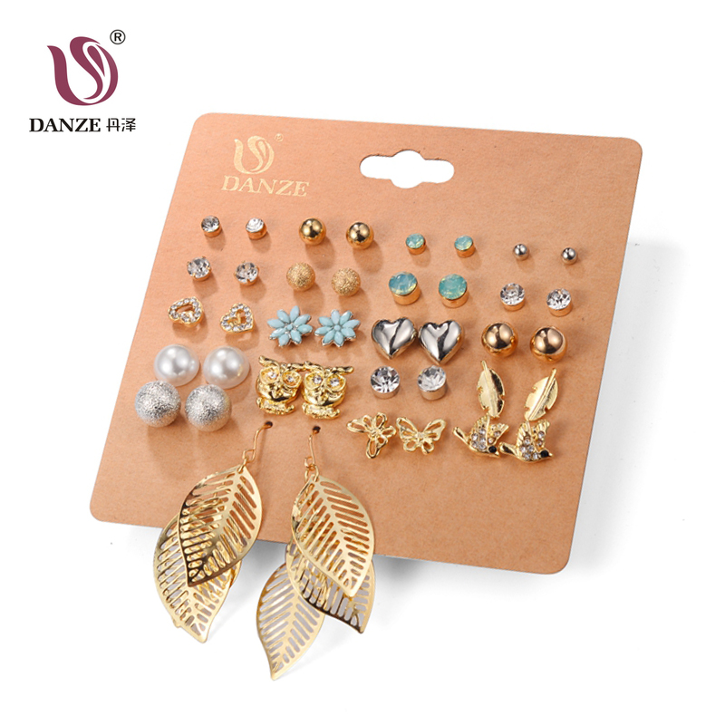 DANZE Punk 20 Pairs Pack Set Brincos Mixed Stud Earrings For Women Crystal Ear Studs Fashion Simulated Pearl Jewelry Wholesale