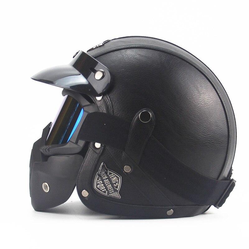 Casques en cuir 3/4 moto Chopper casque de vélo visage ouvert vintage casque de moto avec masque de lunettes motocross