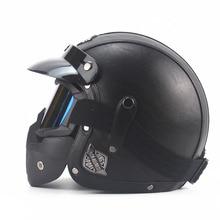 Leather  Helmets 3/4 Motorcycle Chopper Bike helmet open face vintage motorcycle helmet  motocross