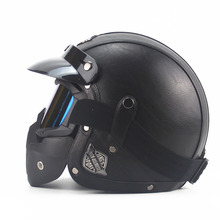 Brand Black Adult Leather Harley Helmets For Motorcycle Retro Half Cruise Helmet Prince DOT