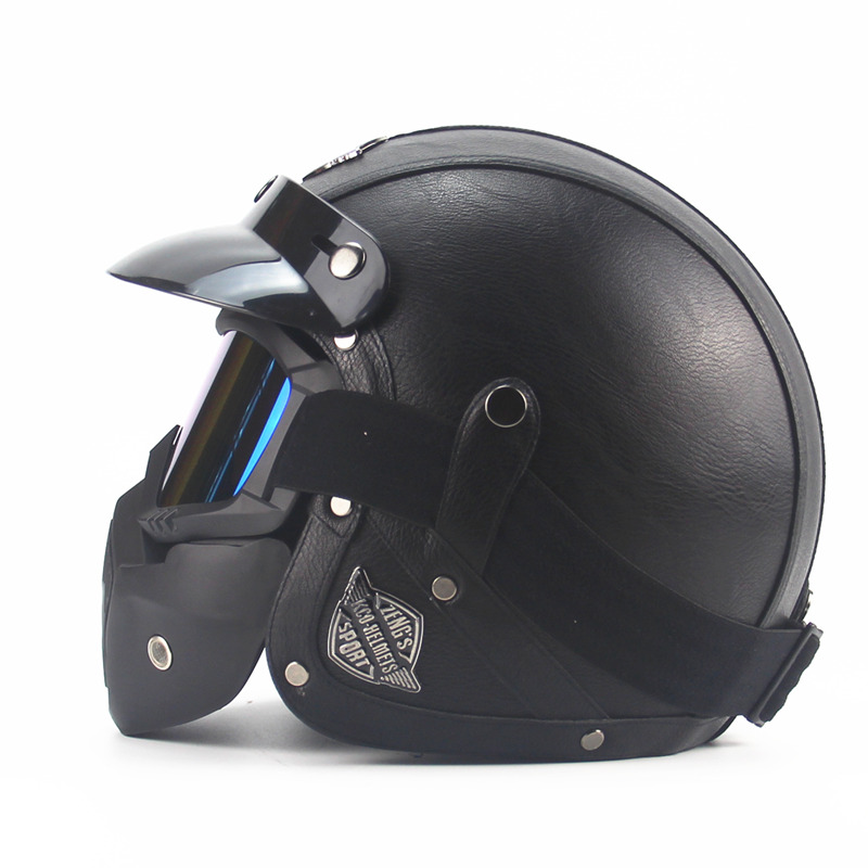 Leather for Harley Helmets 3/4 Motorcycle Chopper Bike helmet open face vintage motorcycle helmet with goggle mask motocrossLeather for Harley Helmets 3/4 Motorcycle Chopper Bike helmet open face vintage motorcycle helmet with goggle mask motocross
