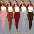 5 Colors Women Solid High Waist Pants Causal Ankle Length Slim Pencil Pants Trousers Female Leggings