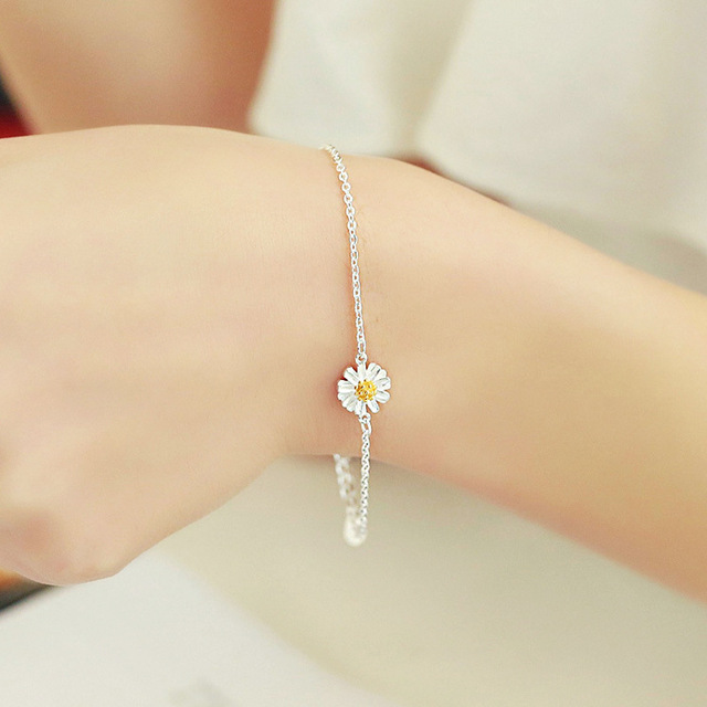 2017 Cute Bracelet Daisy Flower 925 Sterling Silver South Korea Fashion Simple Accessories For Women