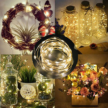 2/5/10M 10-100 LEDs Christmas Garland Copper Wire LED String Lamp Fairy lights For Indoor New Year Xmas Party Wedding Decoration цены онлайн