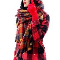 السيدات وشاح الشتاء بطانية سميكة البريطانية أنيق أحمر منقوشة شال الكشمير والأوشحة الطويلة فحص التفاف الرأس