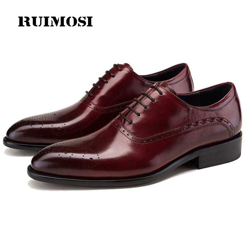 RUIMOSI Luxury Man Medallion Brogue Shoes Genuine Leather Bridal Oxfords Pointed Breathable Men's Dress Flats For Wedding DK90