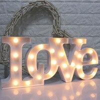 European Wedding Creative Plastic Conjoined LOVE Letters LED Lights 2pcs