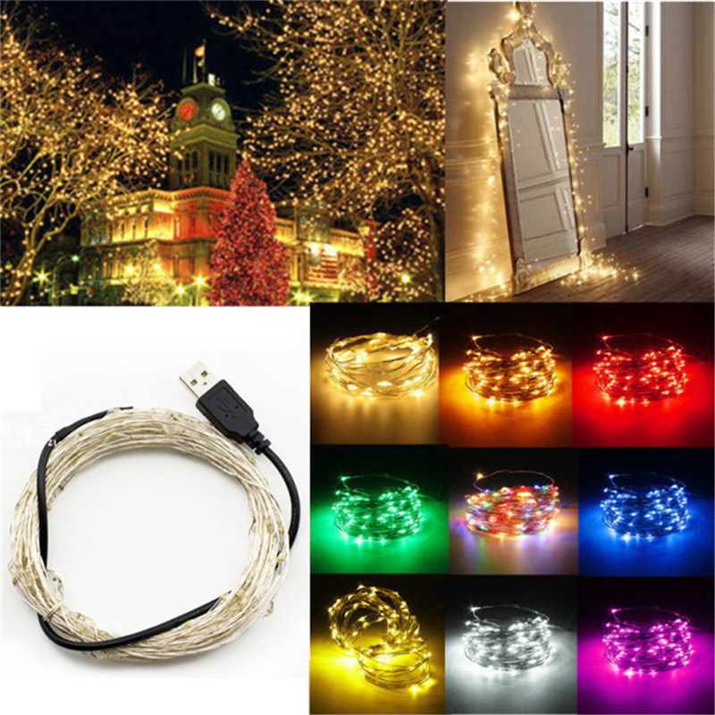 led string lights 5M 10M 50/ 100led 5V USB powered outdoor Warm white copper wire christmas festival wedding party decoration
