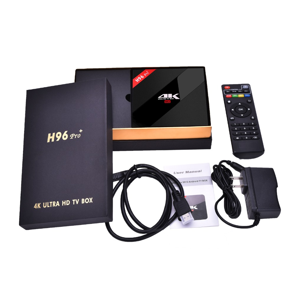H96 Pro Plus + Amlogic S912 Octa Core Android 7,1 ТВ коробка 3 ГБ 32 ГБ 4 K HD медиаплеер 2,4 г/5 ГГц Wifi BT 4,1 Smart Декодер каналов кабельного телевидения