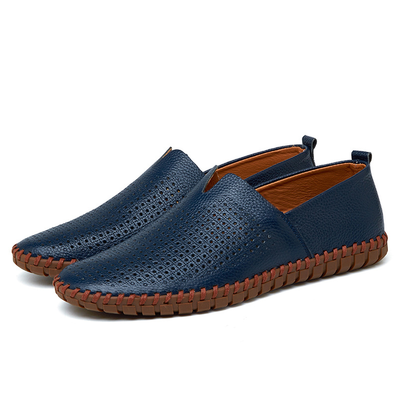 Genuine Cow leather Mens Loafers Fashion Handmade Moccasins Soft Leather Blue Slip On Men's Boat Shoe PLUS SIZE 38~47 pl us size 38 47 handmade genuine leather mens shoes casual men loafers fashion breathable driving shoes slip on moccasins