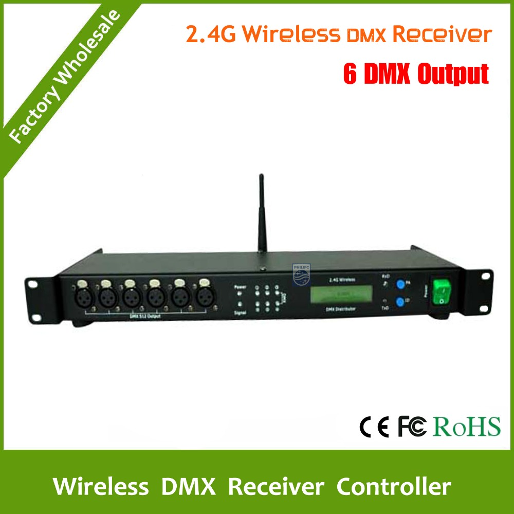 DHL Free Shipping  2.4G Wireless DMX Receiver and 6CH DMX outputs All output are electronically & optically isolated dhl fast free shipping wireless dmx receiver transmitter rgb led controller dmx wireless