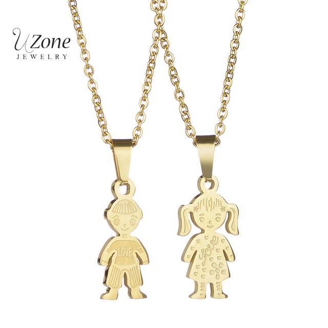 New cartoon boy and girl pendant necklace stainless steel gold new cartoon boy and girl pendant necklace stainless steel gold steel color statement family necklace for aloadofball Image collections