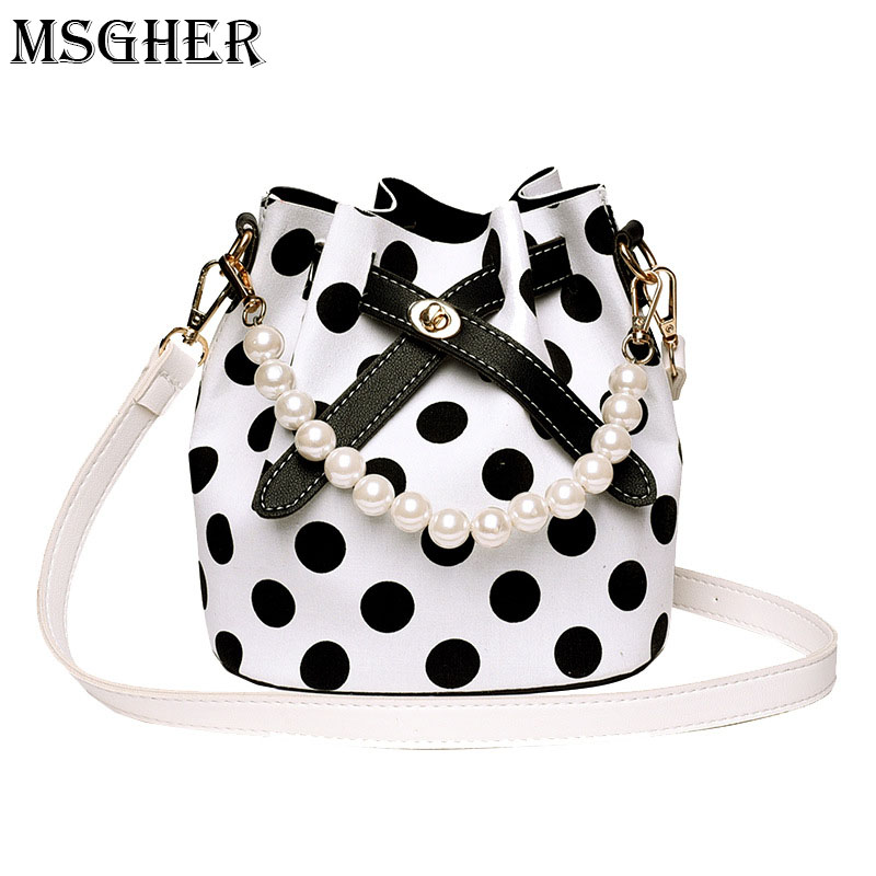 MSGHER Elegant Pearls Bucket Bag Women Vintage Polka Bag 2018 New Summer Hand Bag Female Bow Tie Shoulder Bag Small Handbag
