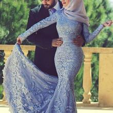 Scarf Evening-Dresses Long-Sleeves Saudi Dubai Appliques Lace Arabic Mermaid Muslim Elegant