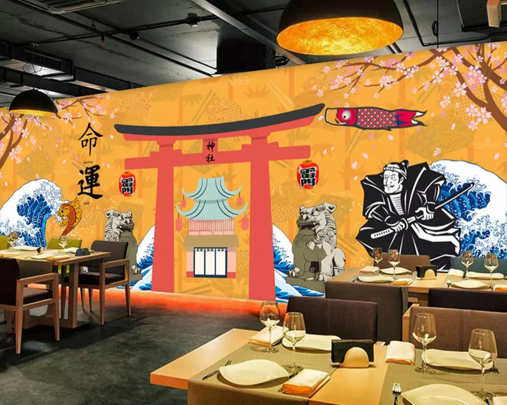 Custom Mural Wall Painting Retro Streets Japanese Style Restaurant Sushi Shop Background Wall Decorative Wallpaper For The Wall Wallpapers Home Improvement