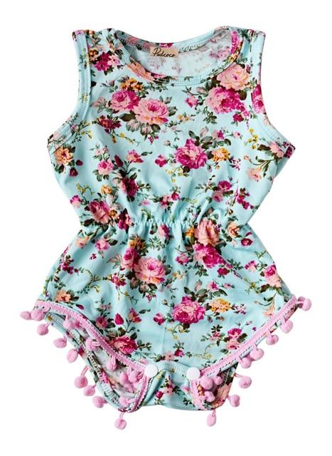 614768bbb08c New Baby Girl Pretty summer Romper Newborn Infant Baby Girls Floral Pom Pom Romper  Jumpsuit Sunsuit