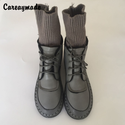 Careaymade-2017 new Mori girl style PU boots, pure handmade short boots , casual Martin women's flat Boots,4 colors