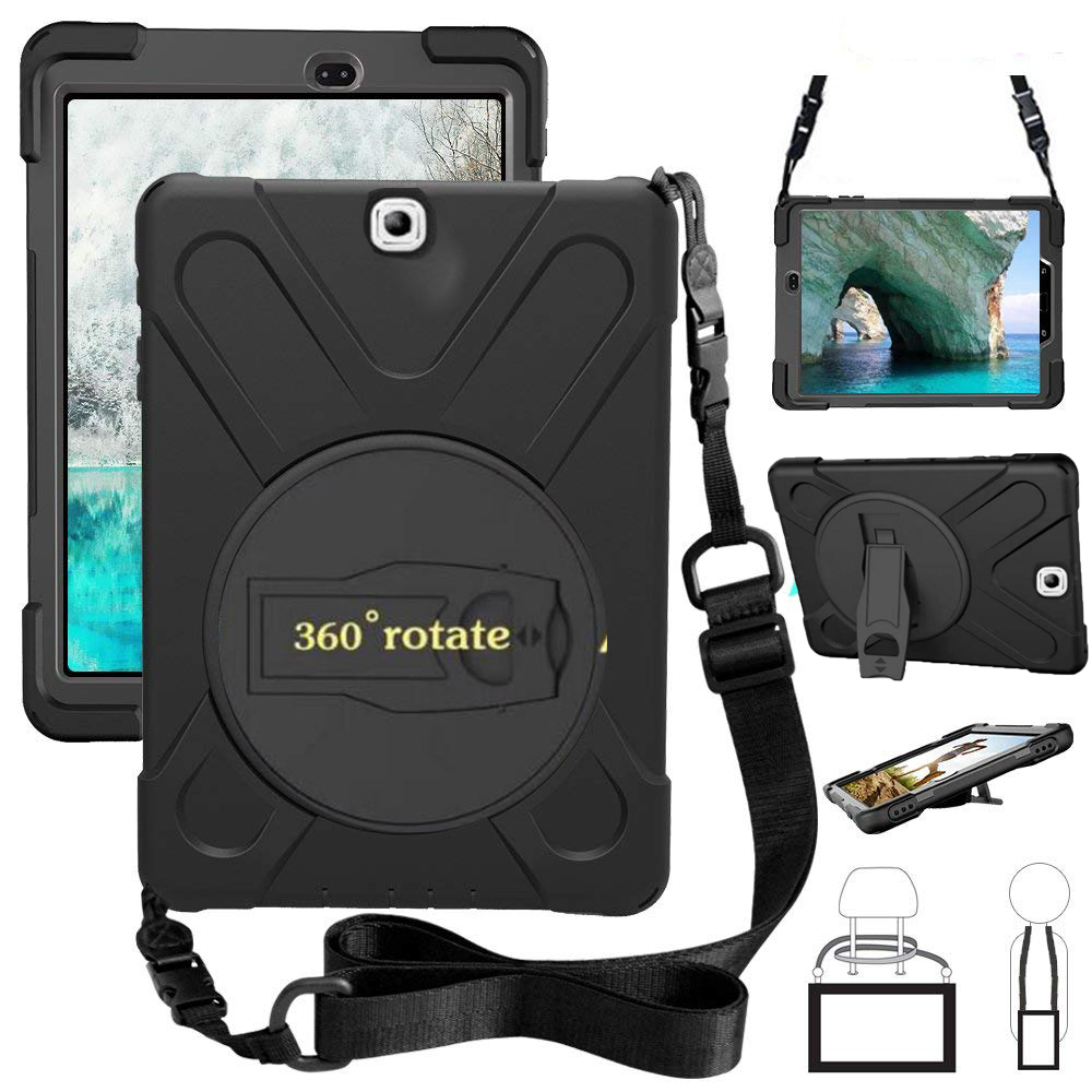Shockproof Kids Protector Case For Samsung Galaxy Tab S2 9.7 T810 T815 T813 T819 Heavy Duty Silicone Hard Cover +Shoulder Strap for tab s2 sm t810 kids safe shockproof heavy duty silicone hard case cover for samsung galaxy tab s2 9 7 t810 t815 hand hold