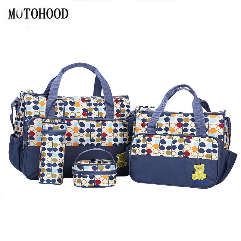 MOTOHOOD 5pcs/lot Mother Baby Bags For Mom Multifunctional Organizer Baby Maternity Nappy Changing Bag Women Messenger Bag