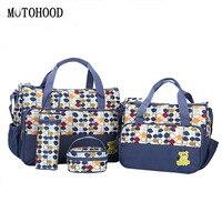MOTOHOOD 5pcs/lot Mother Baby Bags For Mom Multifunctional Organizer Baby Maternity Nappy Changing Bag Women Messenger Bag