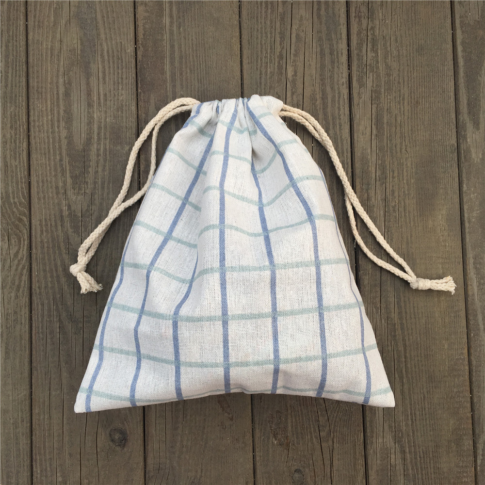 1pc Cotton Linen Drawstring Party Gift Bag Coin Phone Key Pouch Blue Green Check YILE812A