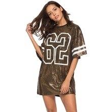 цена Women Fashion Style T-Shirt Loose Half Sleeve shining Long Hip Hop Shirts Sequin T-Shirt Casual letter Tops Tees streetwear punk