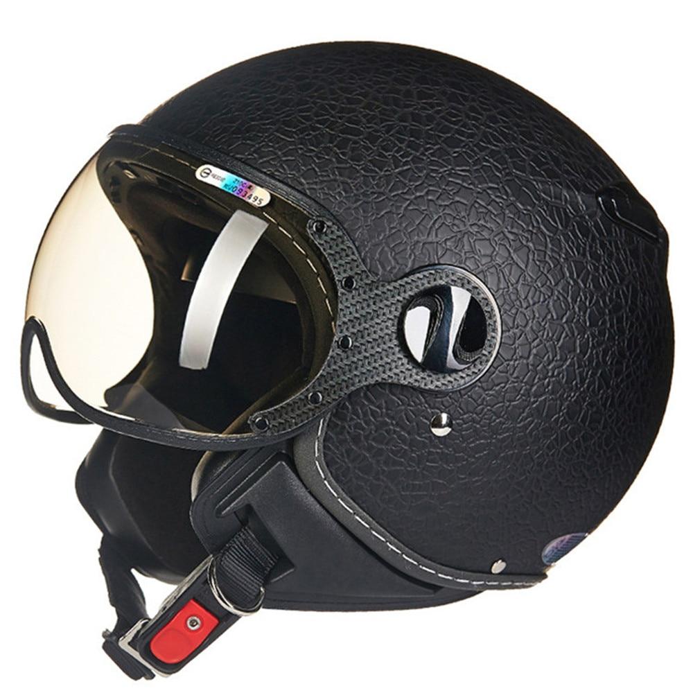 Leather Motorcycle Helmet Chopper Open Face Vintage Helmet ...