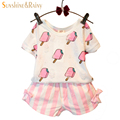 Sweet Summer Baby Girls Clothing Set Popsicle Style Kids Girl Clothes Cute Ice Cream Hole T-shirt and Bow Short Suit