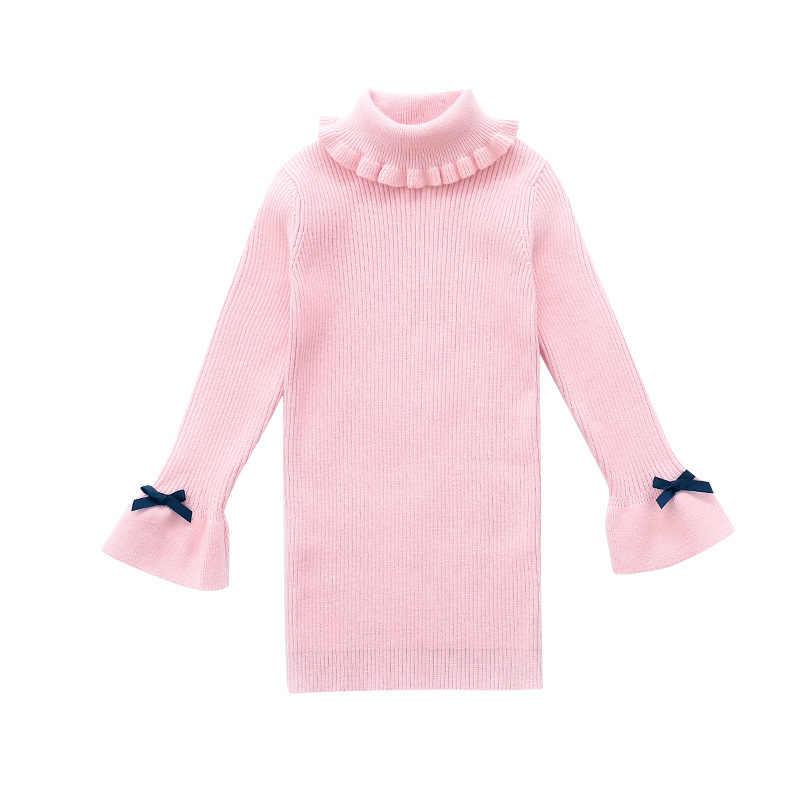 54c8c23963d63 Little Girls Sweater Dresses Winter Knitting Dresses Kids Girl Long  Sweaters 2019 Fall Big Girls Long Sweater High Neck Dress