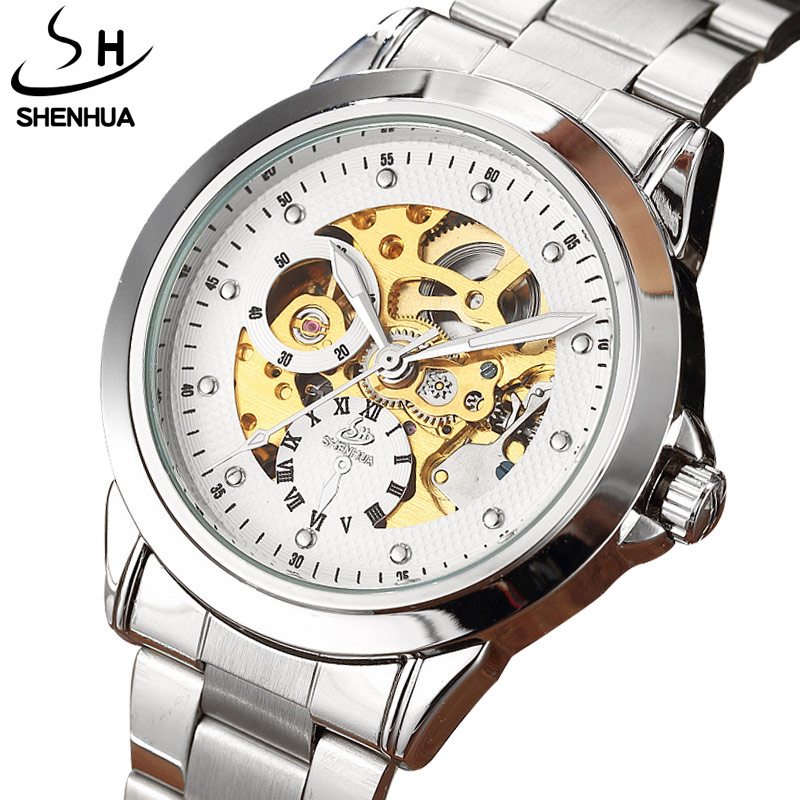 New Luxury Silver Mechanical Automatic Wrist Watch Rome Number Men Stainless Steel Band Skeleton Dial Mens Watch Time Gift S040 ks navigator series stainless steel silver case luxury skeleton dial automatic mechanical male clock men business watch ks206