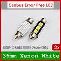 2x Branco 36mm 39mm 42mm C3W C10w C5W LEVOU Livre De Erros carro Número Da Placa de Licença luzes de Leitura Auto Dome Festoon Lâmpada 12 V