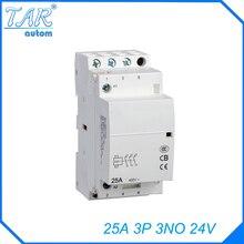 24V 3NO 25A 3P modular household small AC contactor hotel building Din rail Household ac contactor стоимость