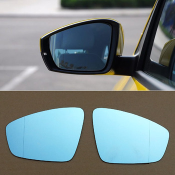 For Volkswagen Polo Car Rearview Mirror Wide Angle Hyperbola Blue Mirror Arrow  LED Turning Signal Lights
