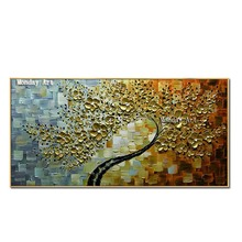 Pop art Flower tree oil painting hand painted modern on canvas abstract knife golden flower