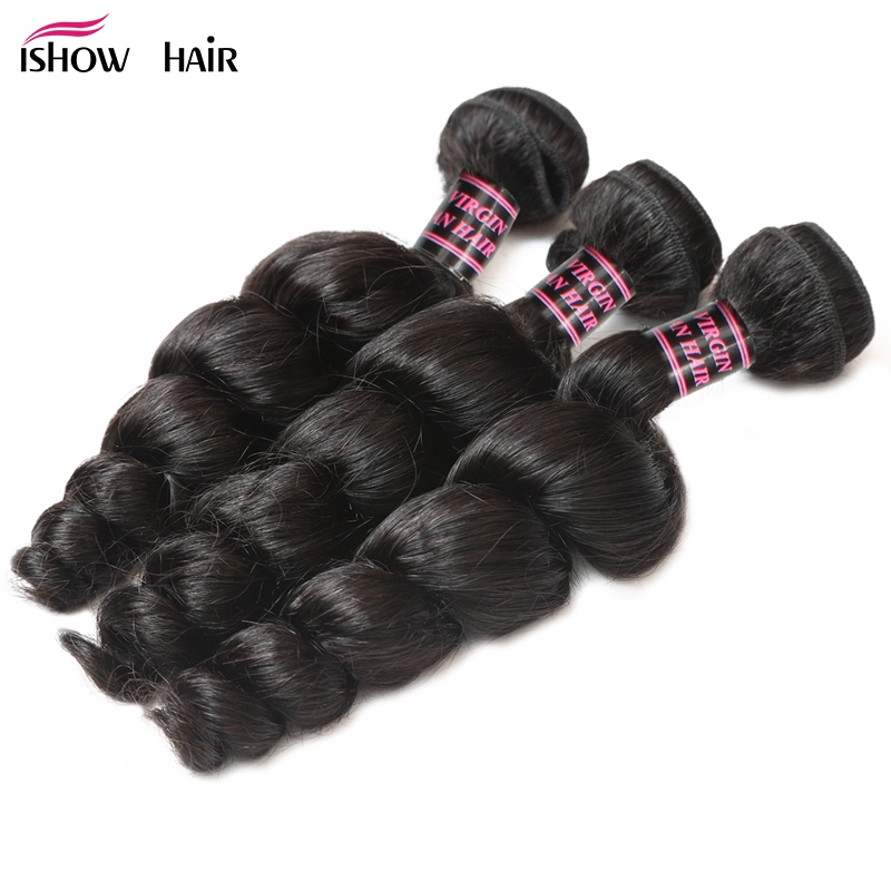 Ishow Malaysian Loose Wave 3 Bundles Human Hair Extensions 300g For Head Non Remy Hair Weave