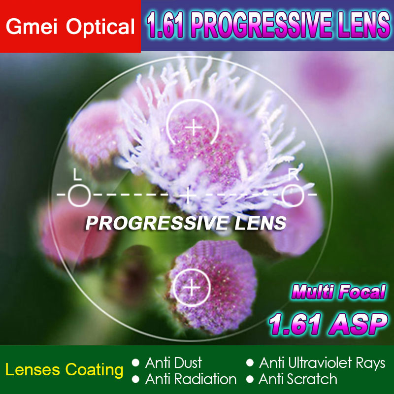 1.61 Numérique Livraison Forme Progressive Aucun-Ligne Multi-Focal Prescription Optique Sur Mesure Lentilles Avec Anti-Reflet 2 pcs
