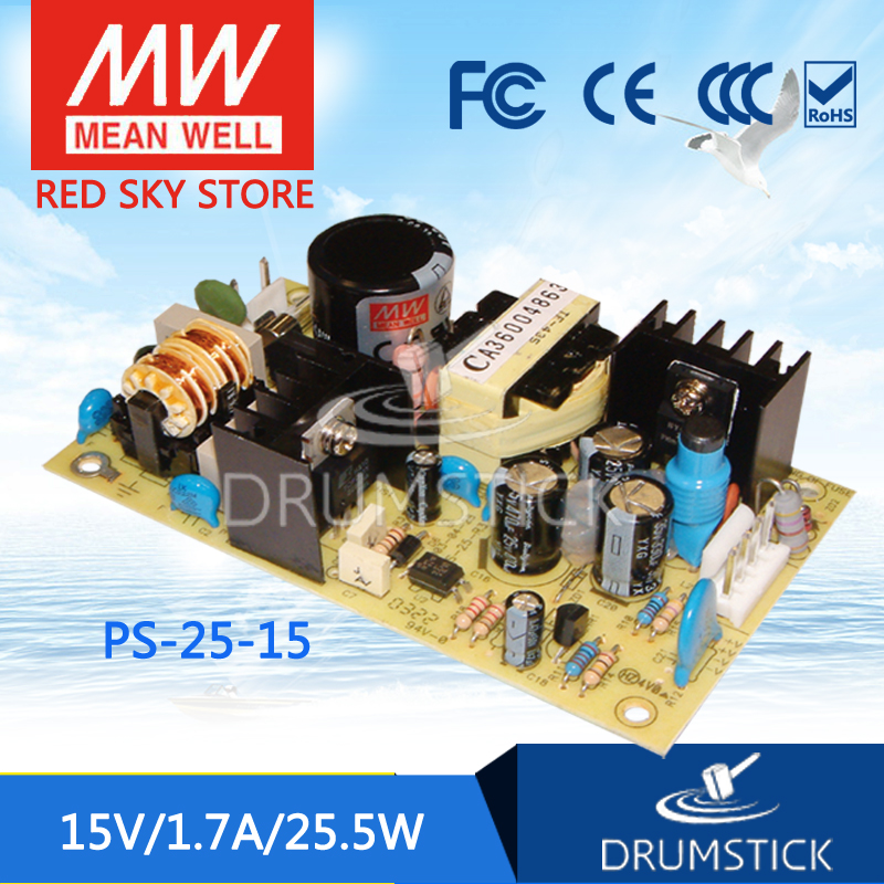 Advantages MEAN WELL PS-25-15 15V 1.7A meanwell PS-25 15V 25.5W Single Output Switching Power Supply [freeshipping 1pcs] mean well original rs 25 15 15v 1 7a meanwell rs 25 25 5w single output switching power supply