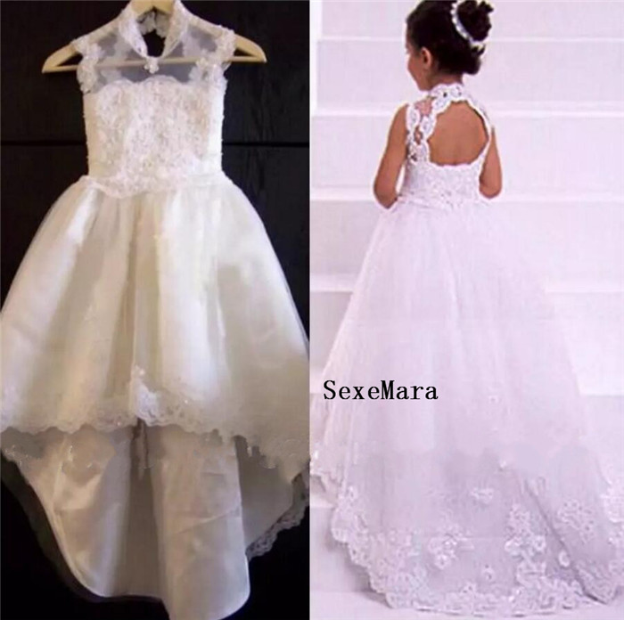 White High Neck Lace Appliques Hi Lo Flower Girls Dresses Beads Tulle Fabric Charming Princess Little Girl Dress High Quality white casual round neck ruffled dress