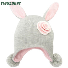 New Flower Winter Baby Hats for Girls Rabbit Ear Children Hat Fashion Knitted Autumn Winter Warm Caps Kids Girls Hats baby hats rabbit ears knitted kids caps 2018 autumn winter baby girls hats lovely infant toddlers beanies for baby photo props