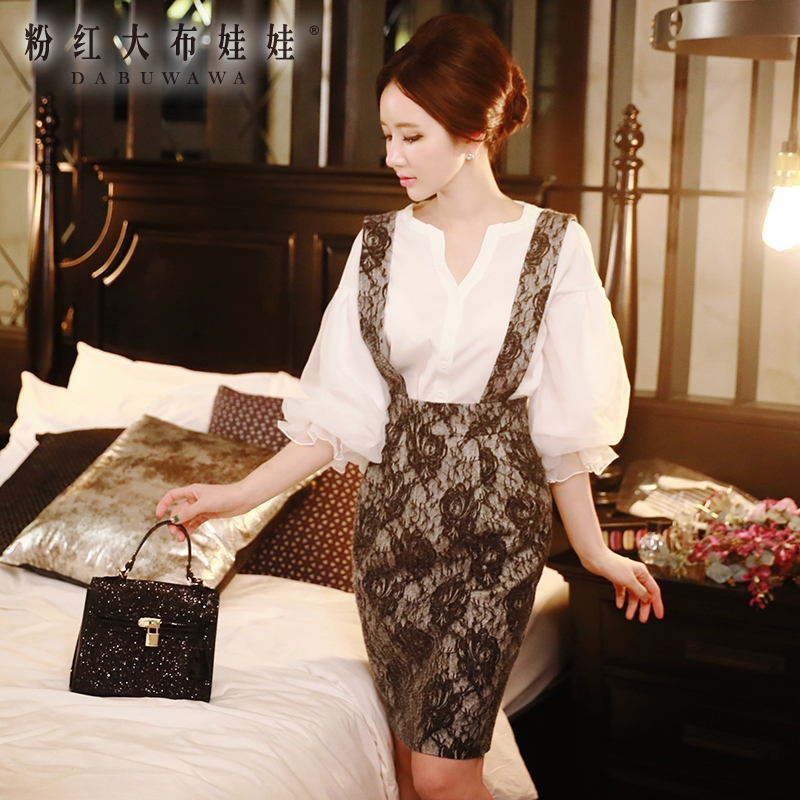 original 2018 brand new spring autumn korean temperament high waist fashion short slim hip lace braces skirt women wholesale