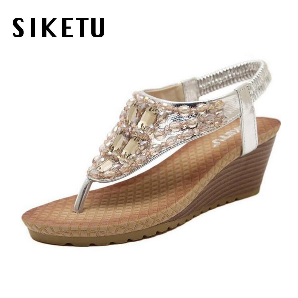 Women's sandals with bling - 2017 Bohemian Slope Women S Sandals High Heel Summer Shoes Wedges Comfort Platform Flip Flops Bling String Free Shipping