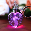 Customized Heart Shaped Crystal Photo Album With Changing Colors LED Lighting Laser Engraved Picture Keychain Souvenir Gifts