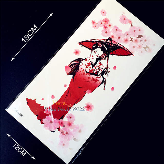 Online Shop 1pc Japanese Sexy Red Geisha Girl Temporary Tattoo