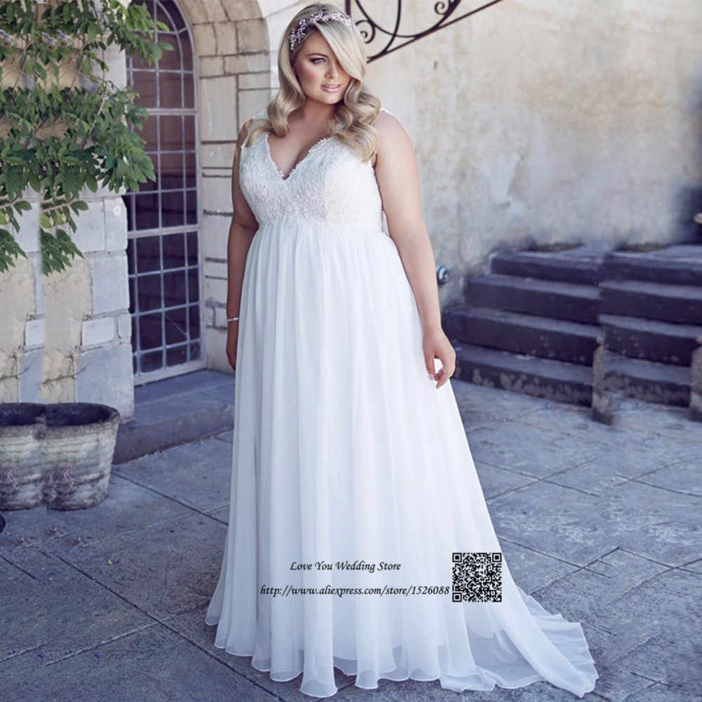 11999551baee ... Vestido Branco Plus Size Maternity Wedding Dresses Empire Lace Bride  Dress for Pregnant Women V Neck ...