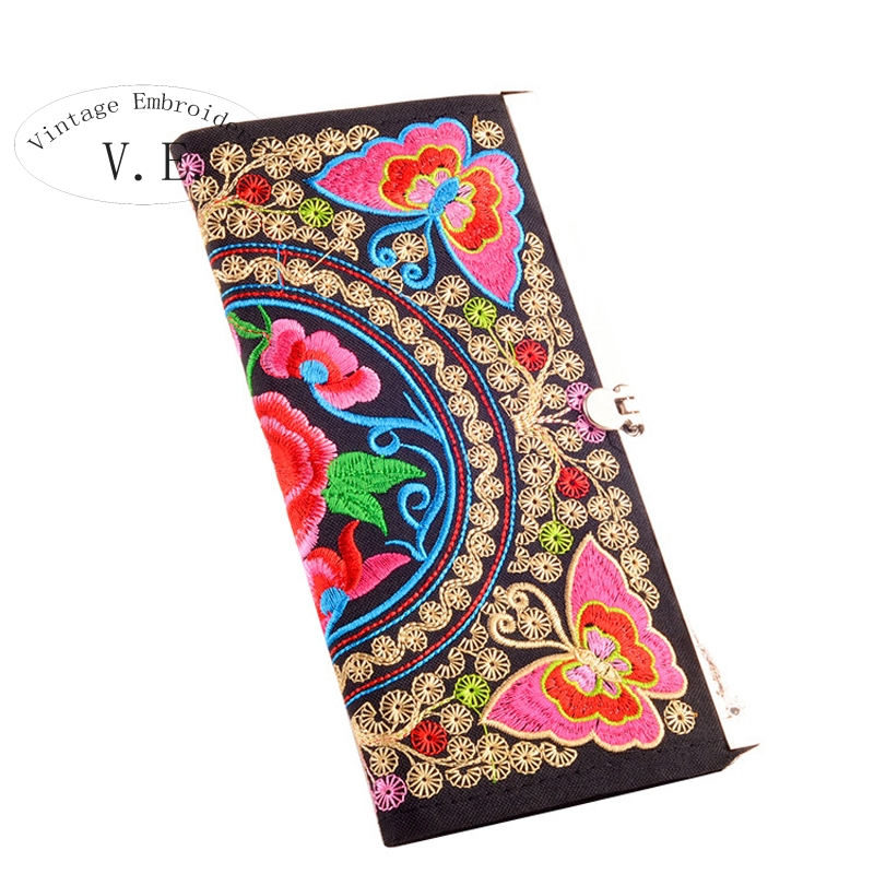 Vintage Embroidery Women's Flower Wallet Women Long Wallet retro Casual canvas coin Purse Clutch phone bags