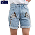 Women's Floral Embroidery Denim Shorts 2017 Summer Fashion Boyfriend Rolled Short Jeans Femme 100% Cotton Shorts Plus size XL